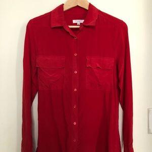 equipment slim signature blouse in cherry - small